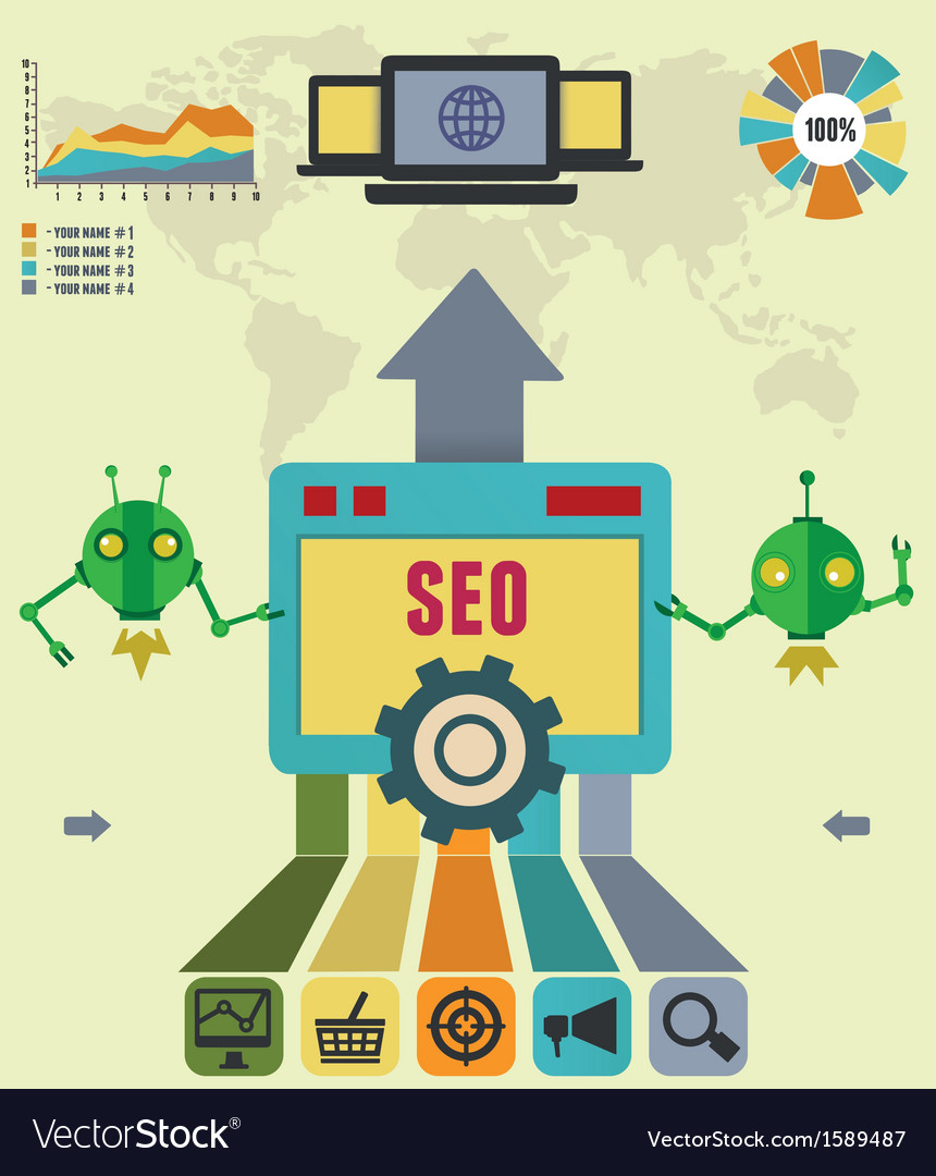 Infographic of seo process vector   Price: 1 Credit (USD $1)