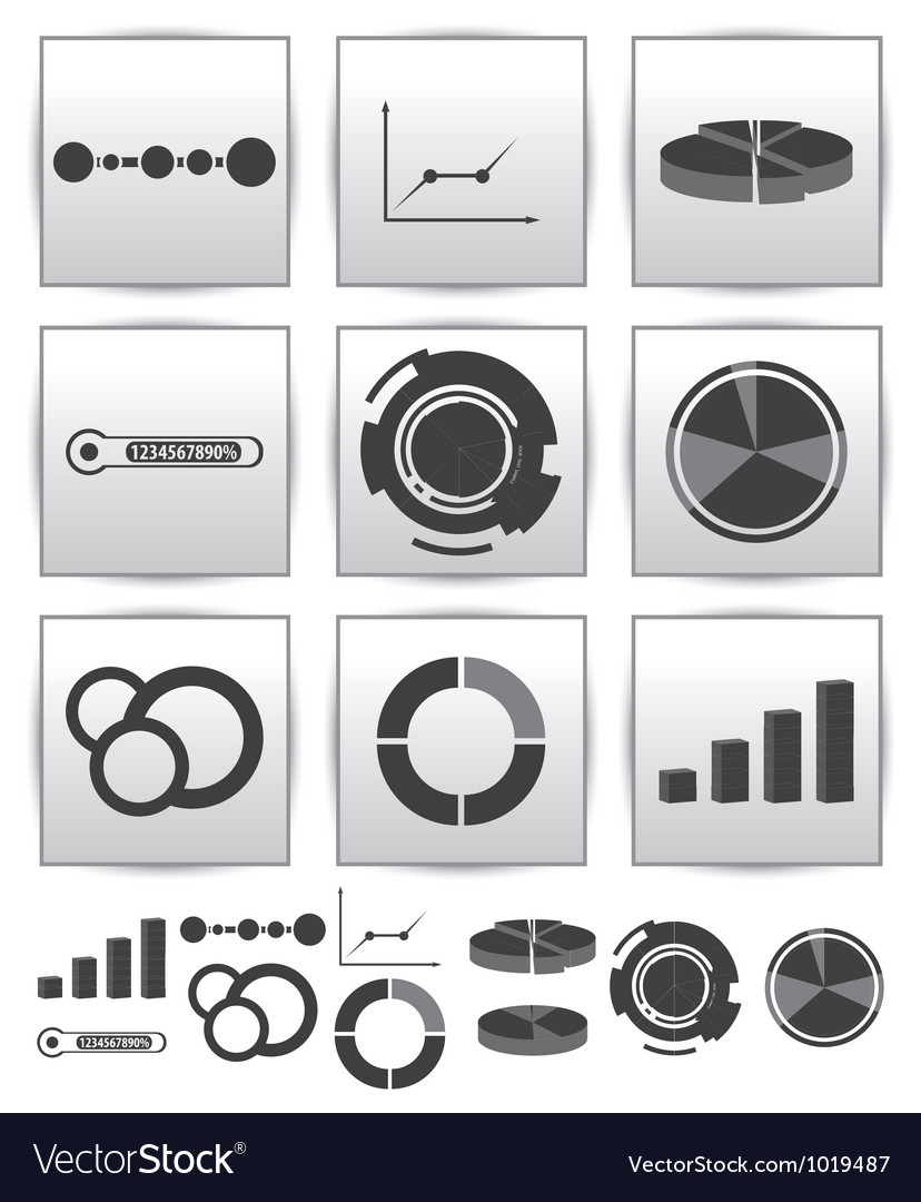 Infographics set icon swirl line graph vector | Price: 1 Credit (USD $1)