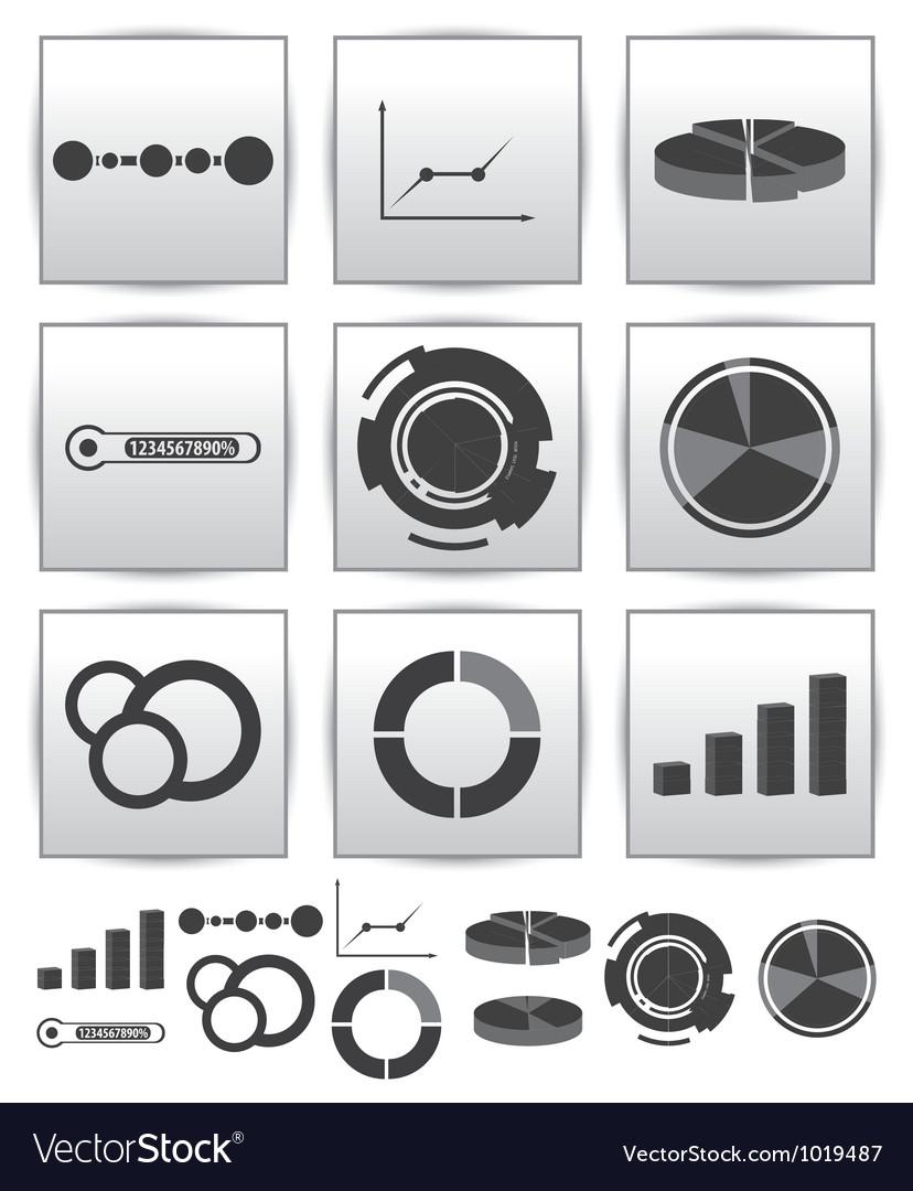 Infographics set icon swirl line graph vector | Price: 1 Credit (USD $1)