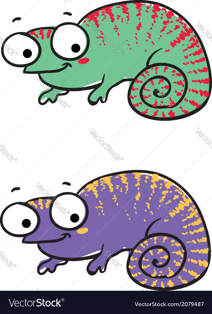 Isolated cartoon lizard on white vector | Price: 1 Credit (USD $1)