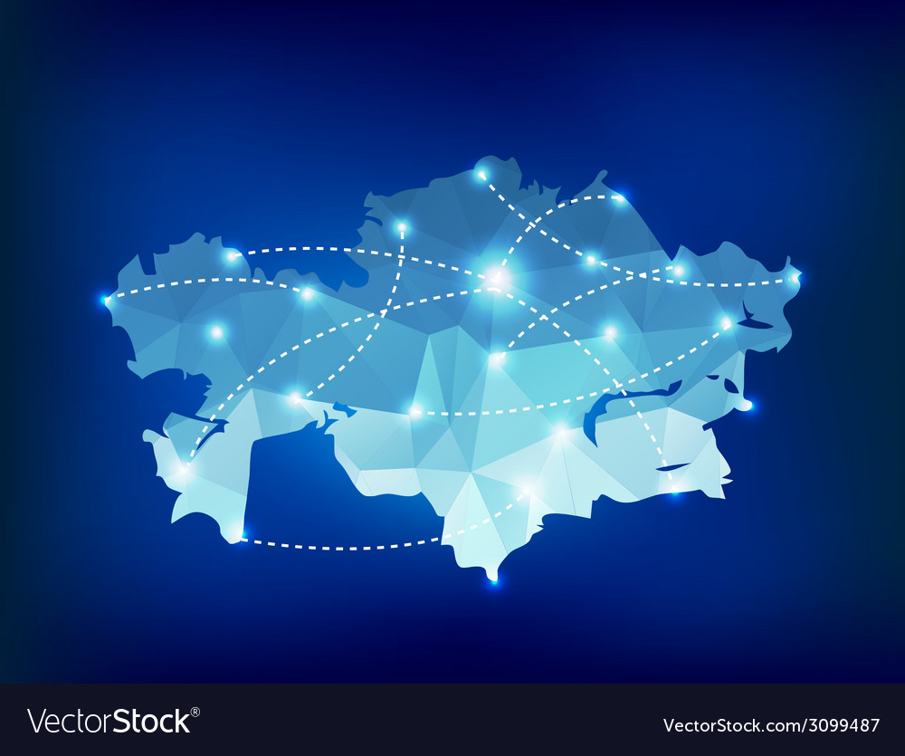 Kazakhstan country map polygonal with spot lights vector | Price: 1 Credit (USD $1)