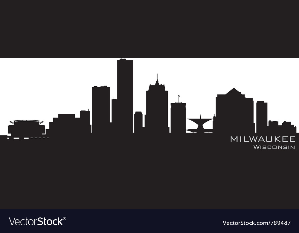 Milwaukee wisconsin skyline detailed silhouette vector | Price: 1 Credit (USD $1)