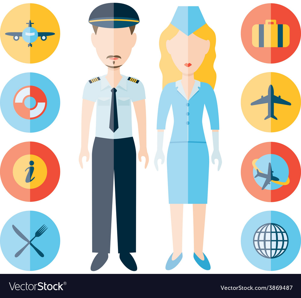 Pilot stewardess and icons vector | Price: 1 Credit (USD $1)