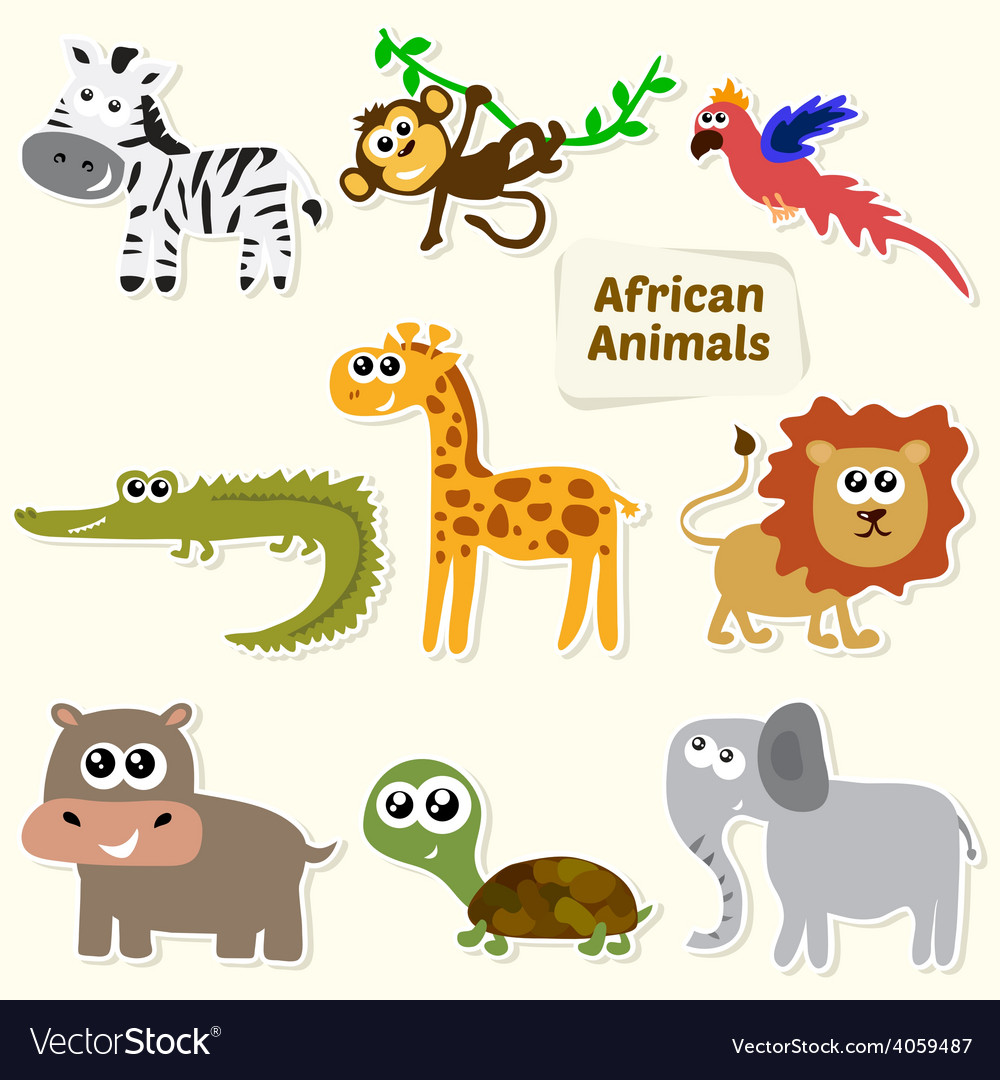 Set of jungle animals cute cartoon african animals vector | Price: 1 Credit (USD $1)