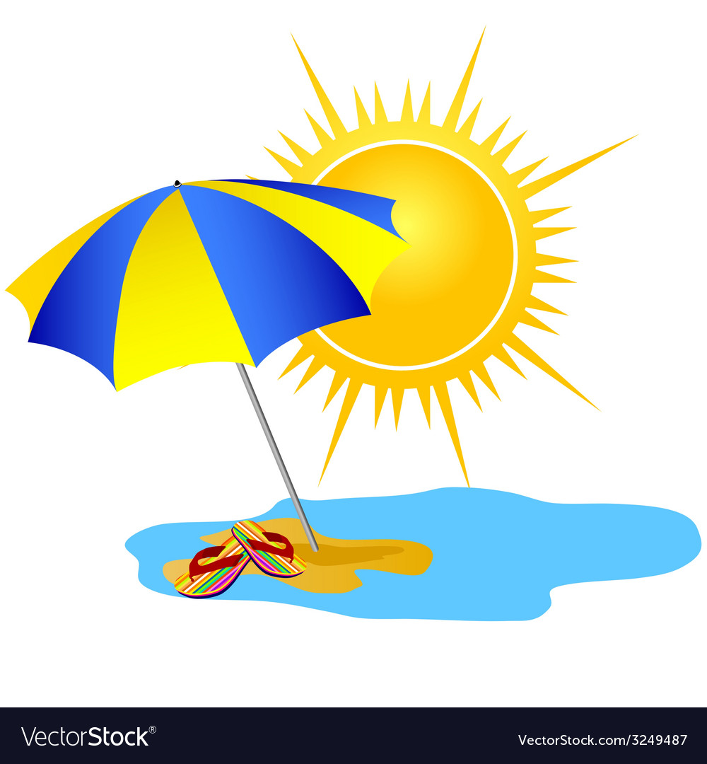 Sun and paradise beach cartoon vector | Price: 1 Credit (USD $1)