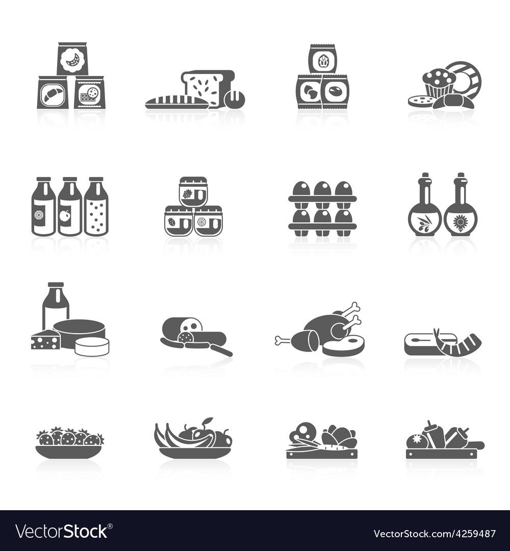 Supermarket icons black vector | Price: 1 Credit (USD $1)