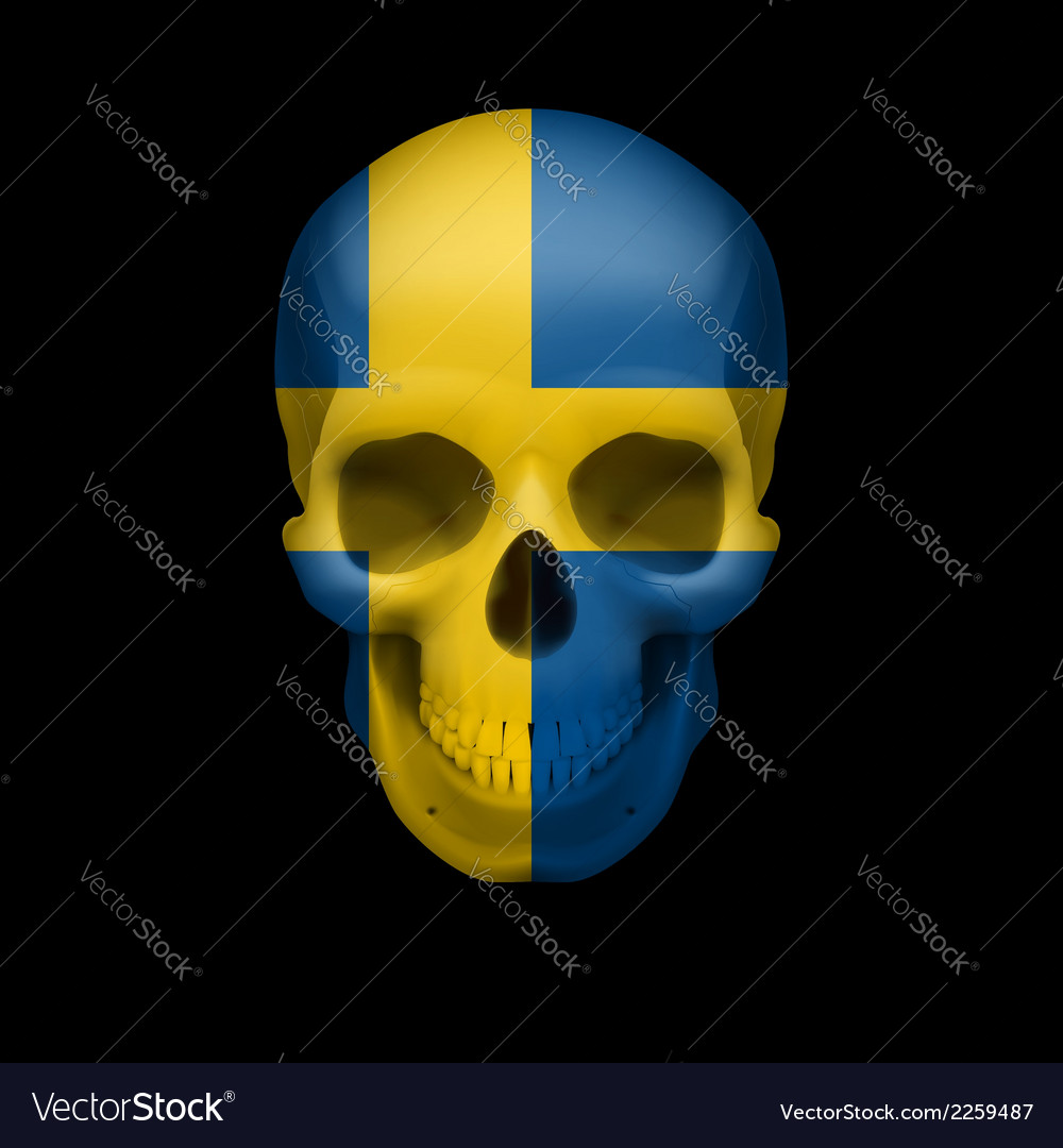 Swedish flag skull vector | Price: 1 Credit (USD $1)