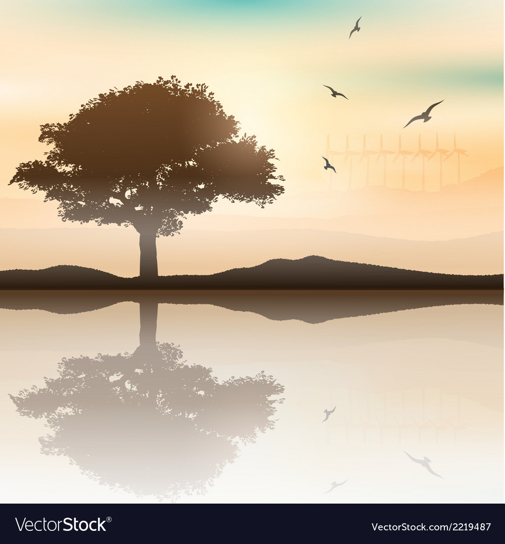 Tree landscape with wind turbines in the vector | Price: 1 Credit (USD $1)