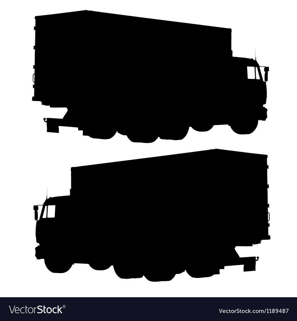 Truck with a container silhouette vector | Price: 1 Credit (USD $1)
