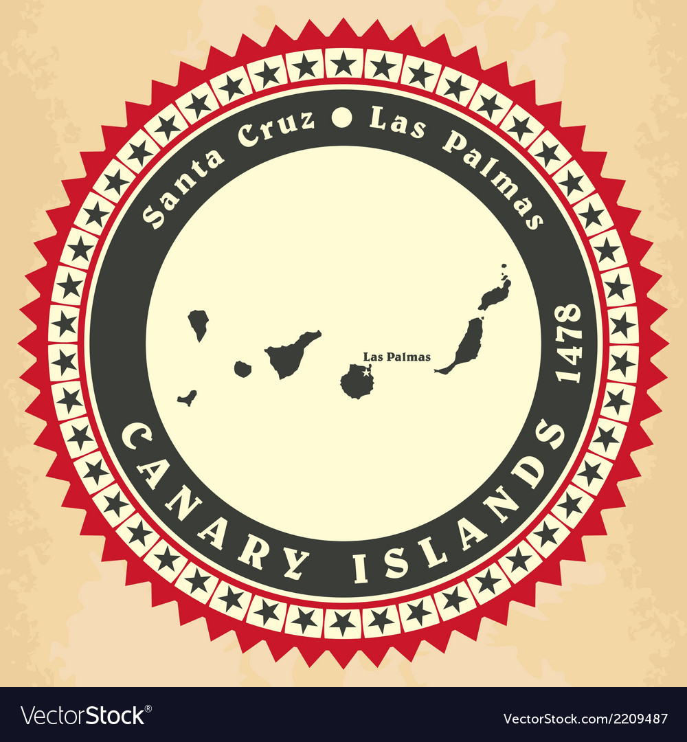 Vintage label-sticker cards of canary islands vector | Price: 1 Credit (USD $1)