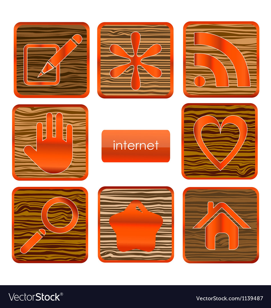 Web wood sign set isolated vector   Price: 1 Credit (USD $1)