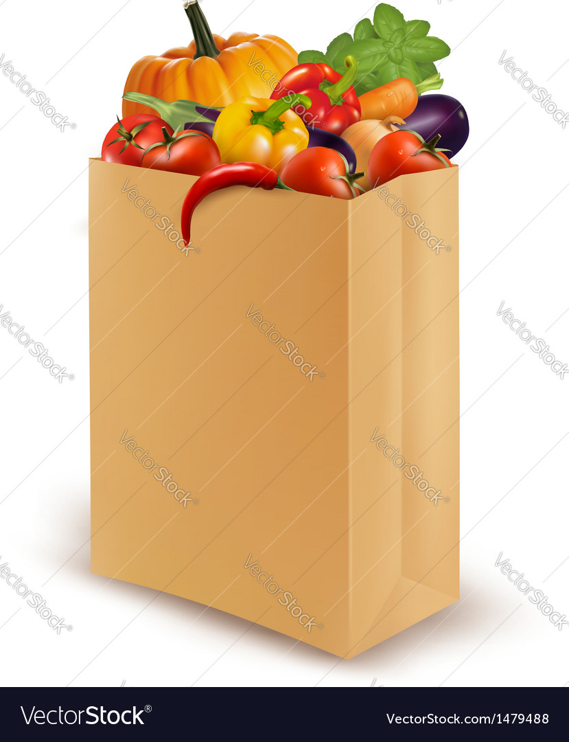 Background with fresh vegetables in paper bag vector | Price: 3 Credit (USD $3)