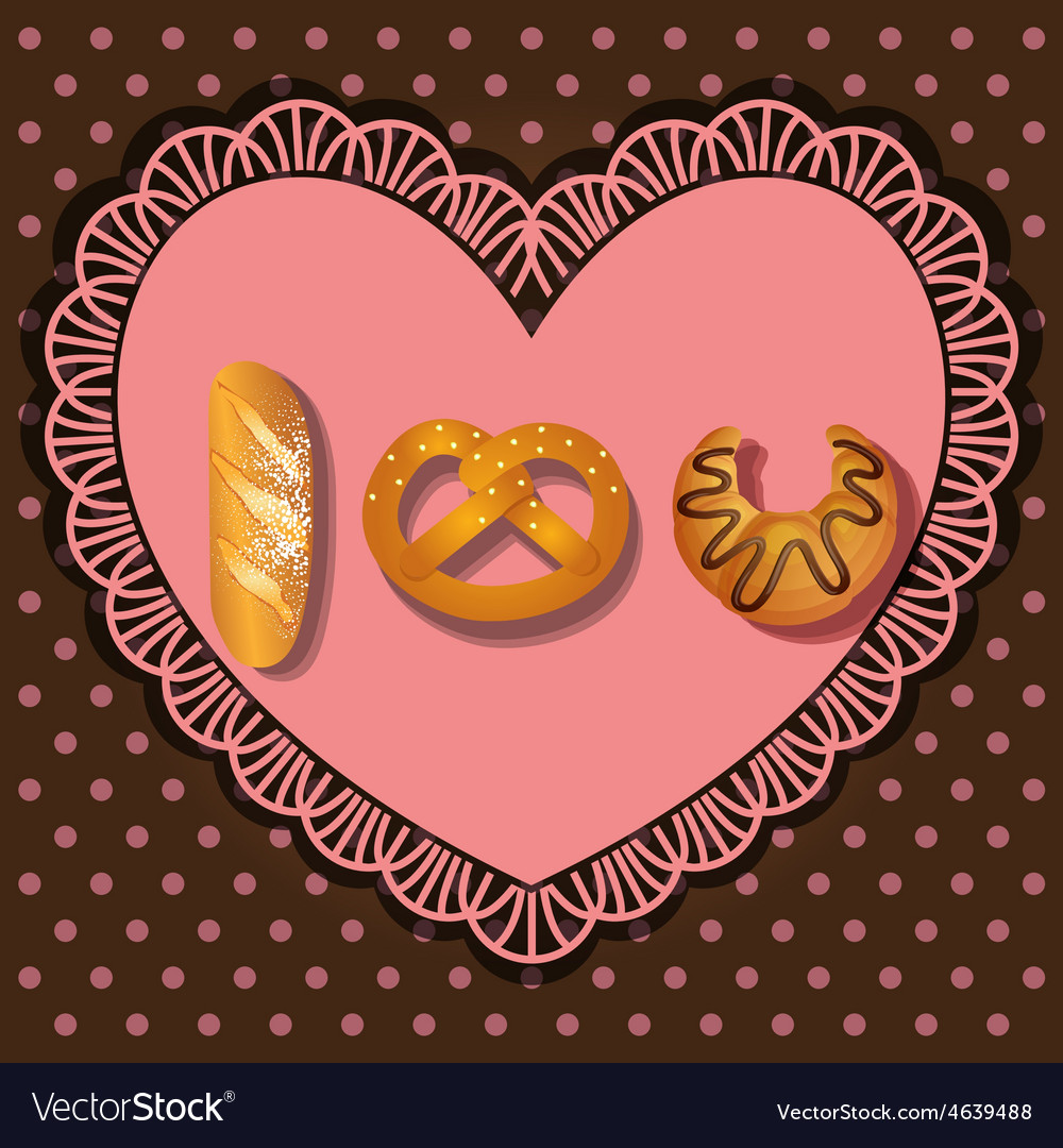 Bake goods in i love you shape vector | Price: 1 Credit (USD $1)