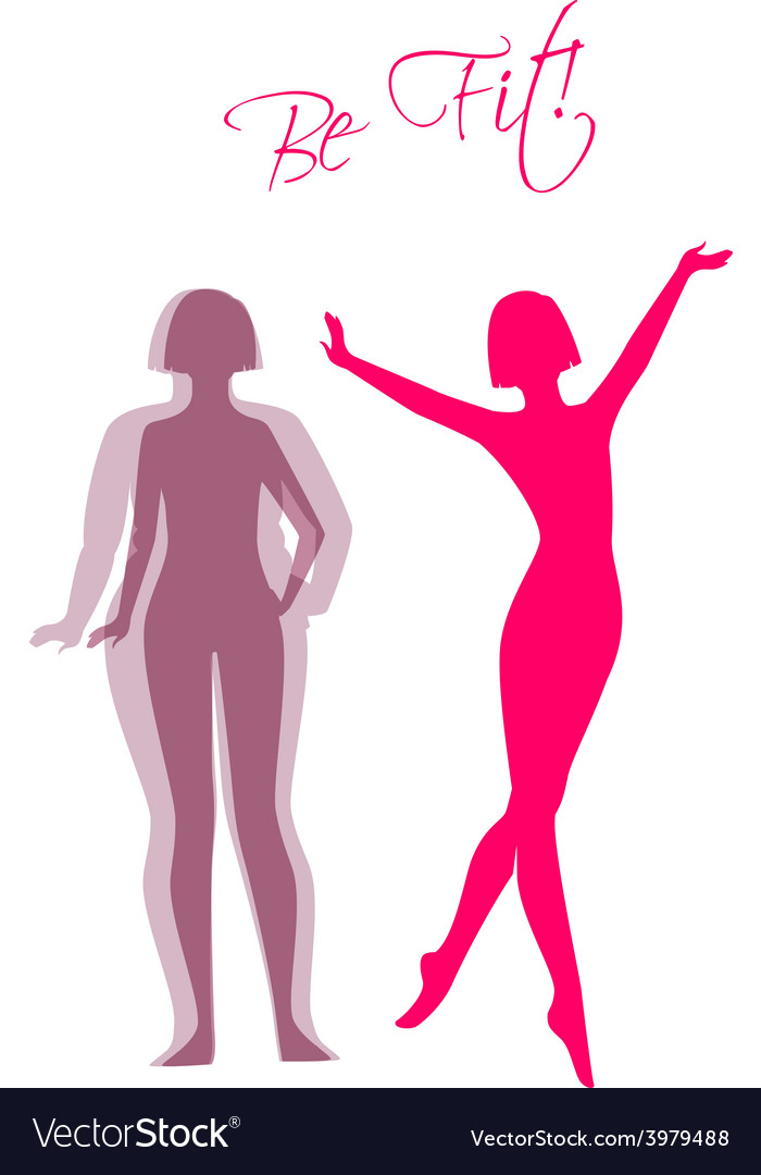 Be fit woman silhouette images vector | Price: 1 Credit (USD $1)