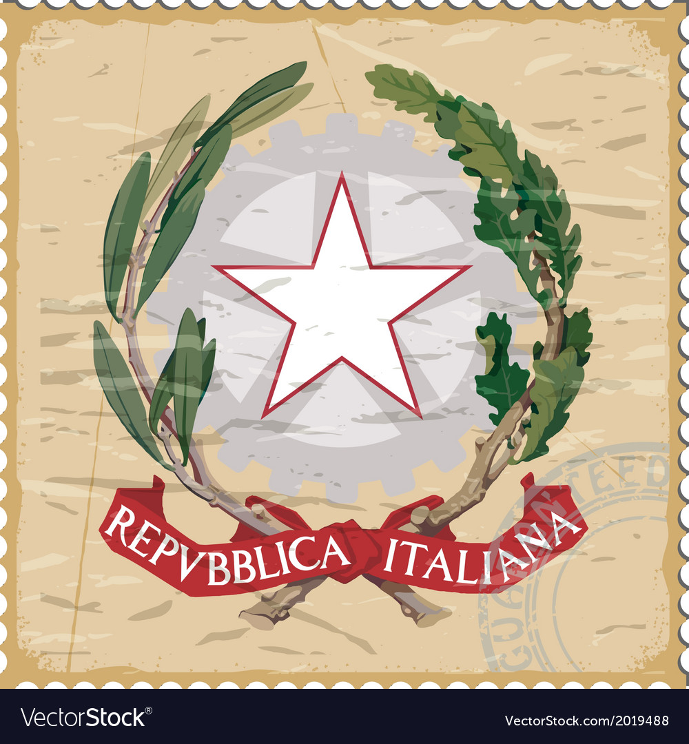 Coat of arms of italy on the old postage stamp vector | Price: 1 Credit (USD $1)