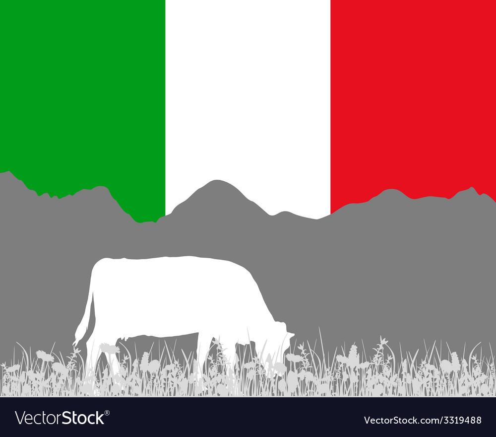 Cow alp and italian flag vector | Price: 1 Credit (USD $1)