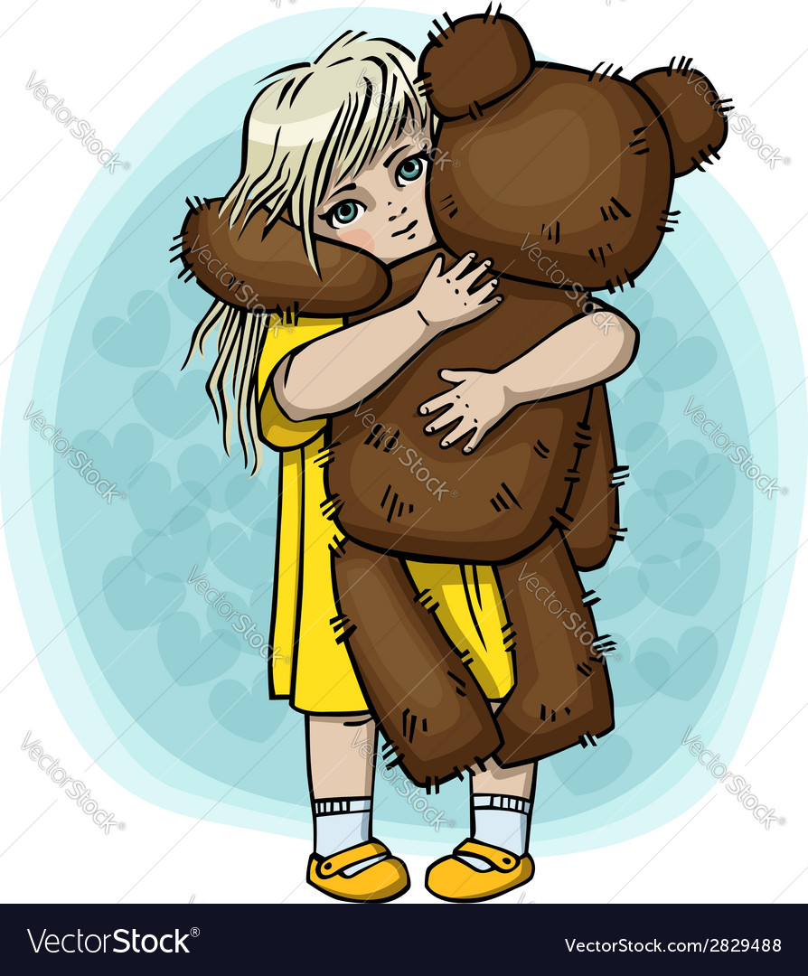 Little blond girl with teddy bear vector | Price: 1 Credit (USD $1)