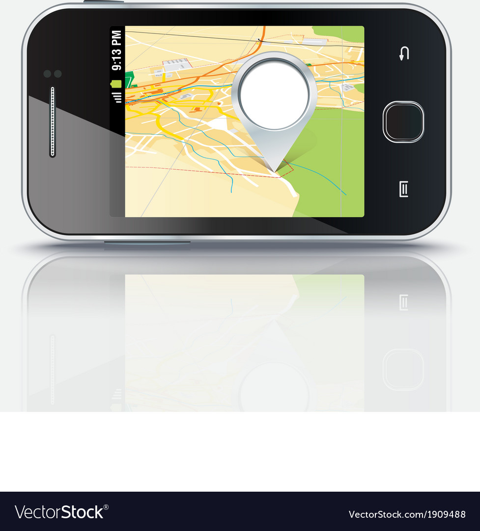 Mobile phone with map and pin eps 10 vector | Price: 1 Credit (USD $1)