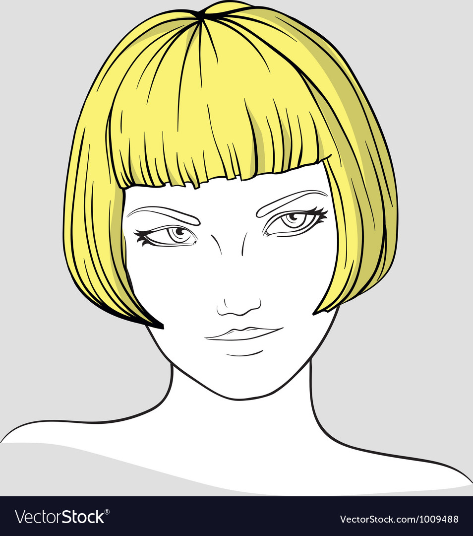 Portrait of blonde girl vector | Price: 1 Credit (USD $1)