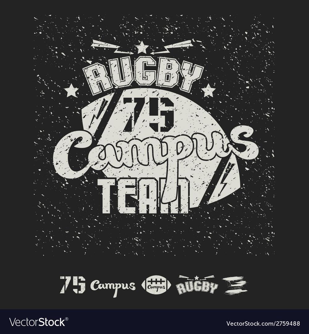 Rugby emblem campus team vector | Price: 1 Credit (USD $1)