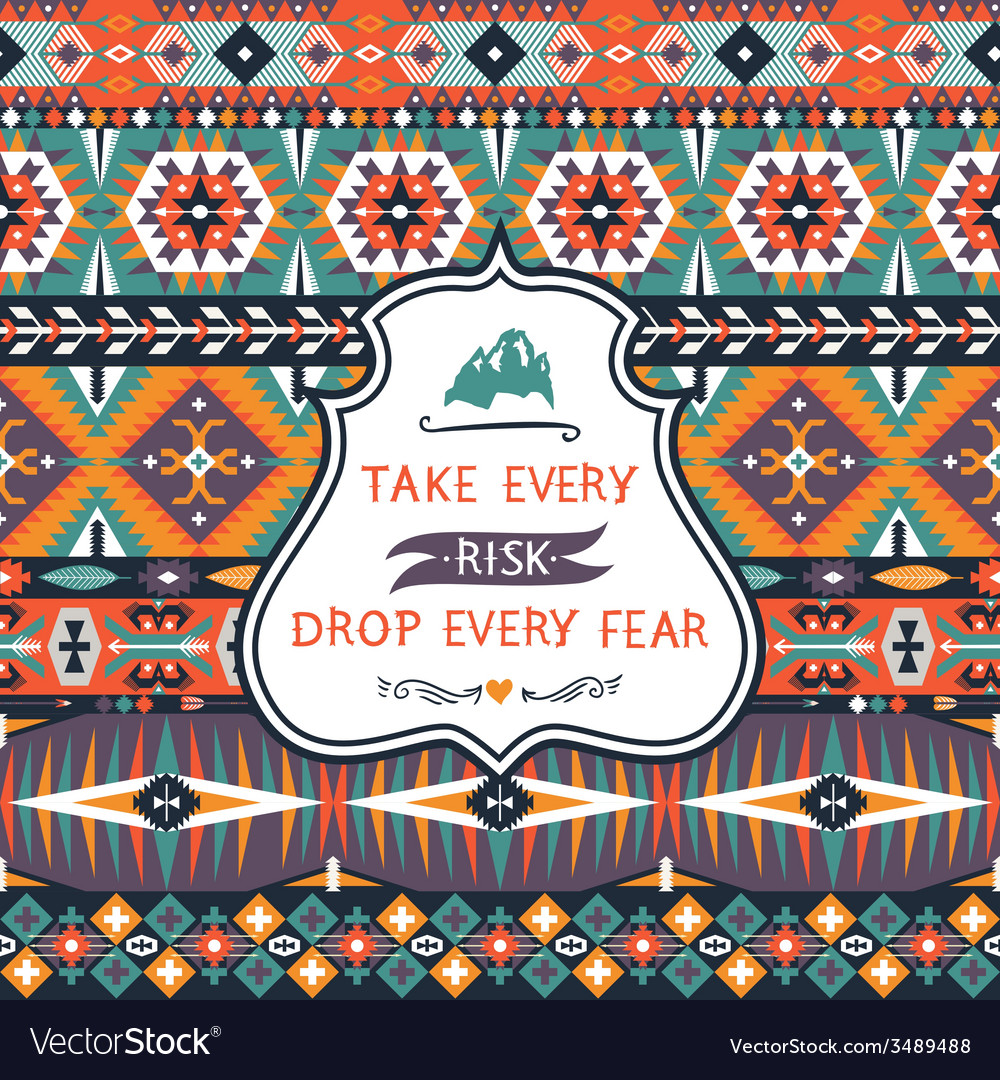 Seamless colorful decorative pattern in tribal vector | Price: 1 Credit (USD $1)