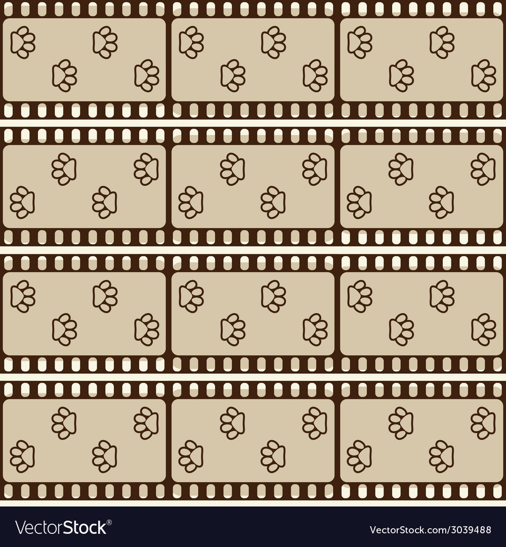 Seamless pattern with film strips and pet paws vector   Price: 1 Credit (USD $1)