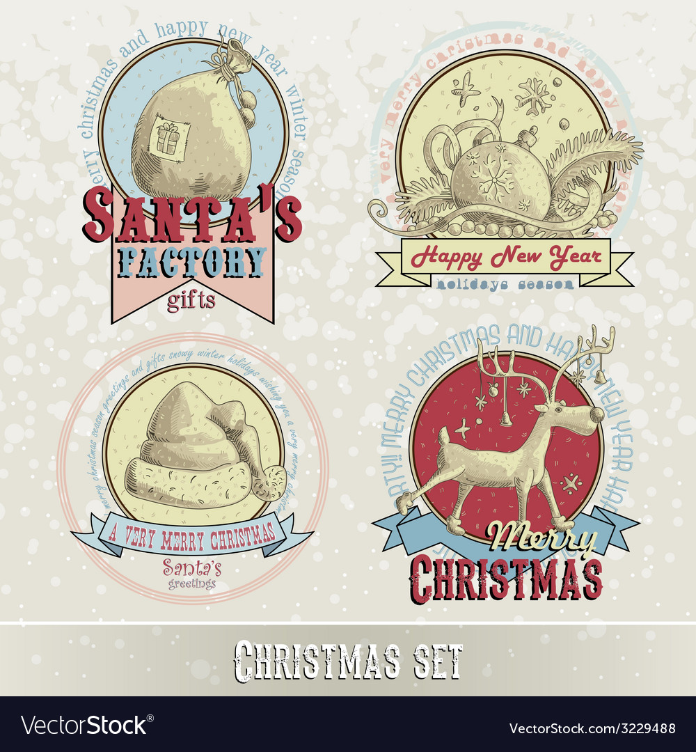 Set of christmas emblems vector | Price: 1 Credit (USD $1)