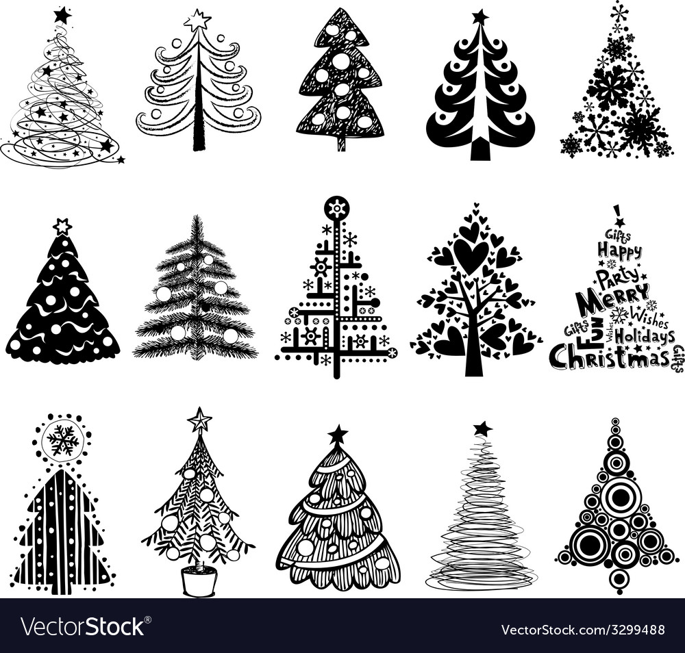 Set of dreawn christmas trees vector | Price: 1 Credit (USD $1)