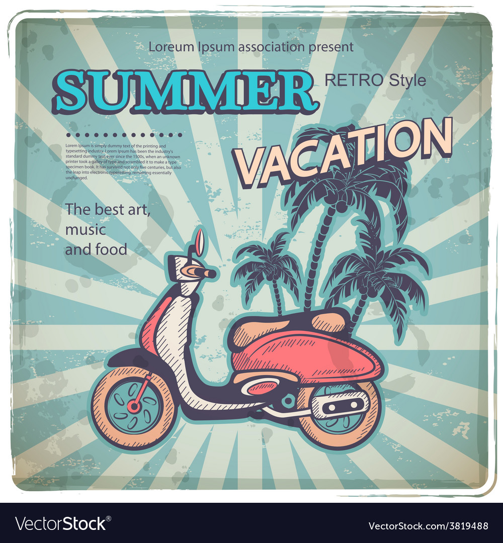 Vintage with a retro scooter vector   Price: 1 Credit (USD $1)
