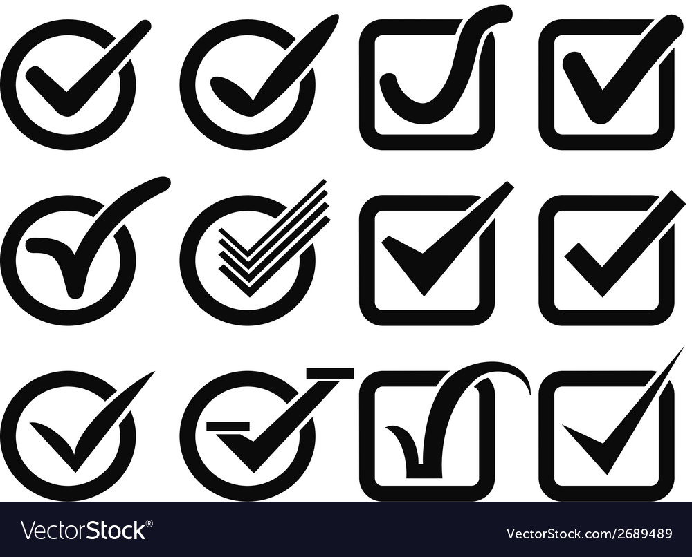 Black check mark button icons vector | Price: 1 Credit (USD $1)