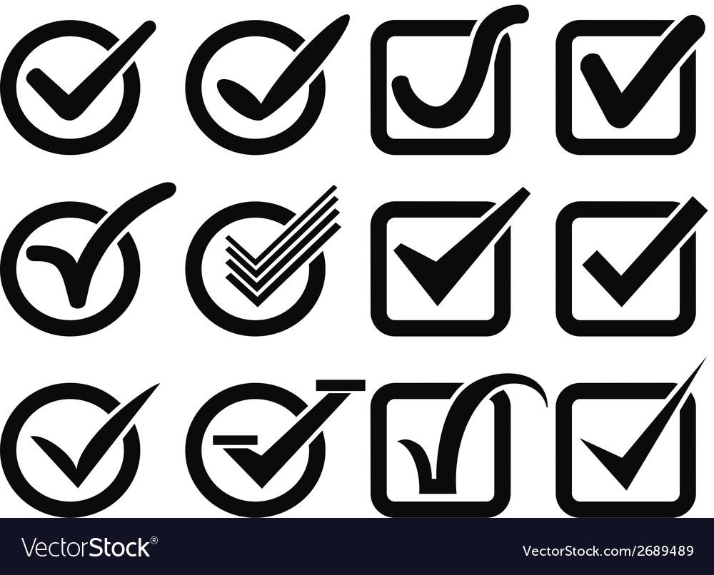 Black check mark button icons vector | Price: 1 Credit (USD $1)