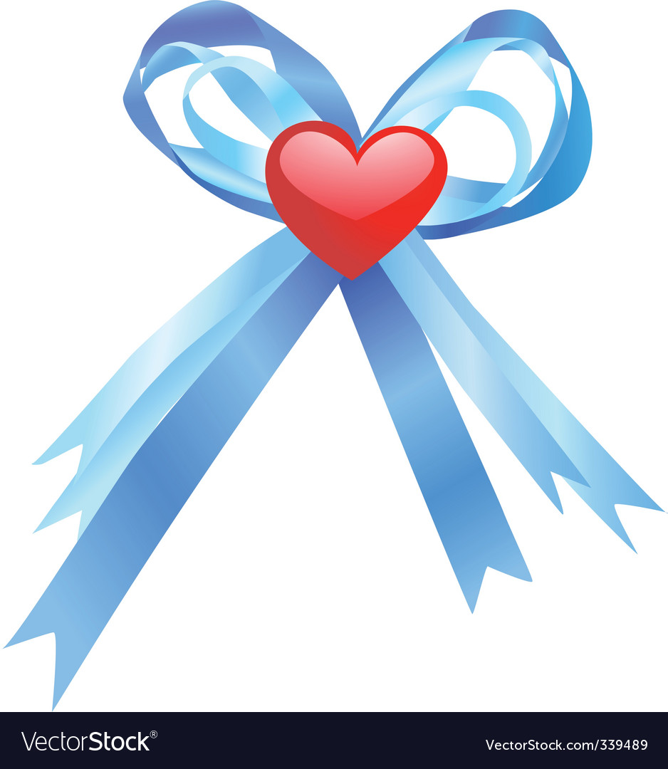 Blue bow and red heart vector | Price: 1 Credit (USD $1)