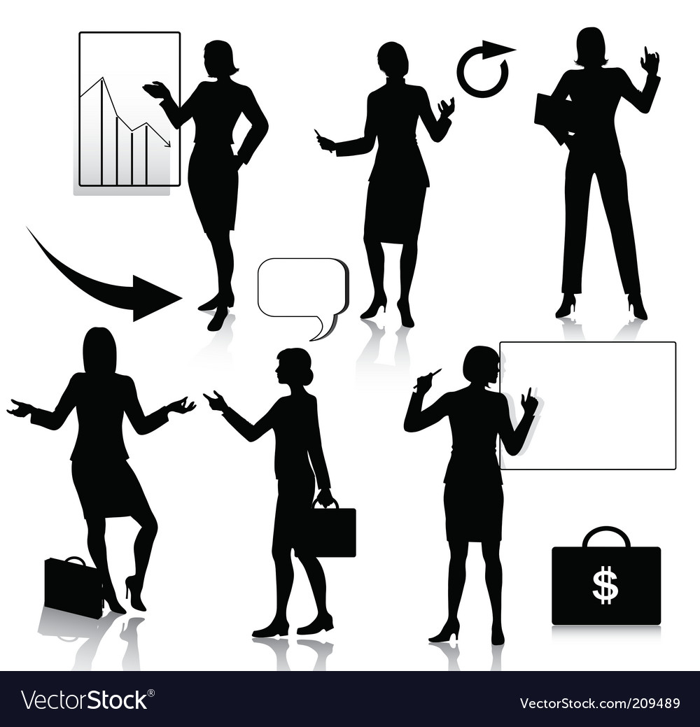 Business women silhouettes set vector | Price: 1 Credit (USD $1)