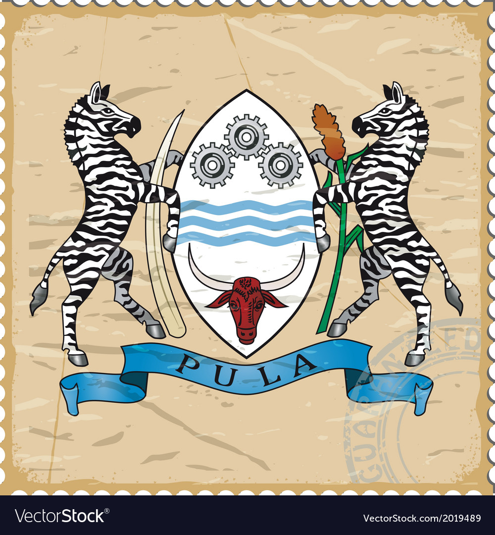 Coat of arms of botswana on the old postage stamp vector | Price: 1 Credit (USD $1)