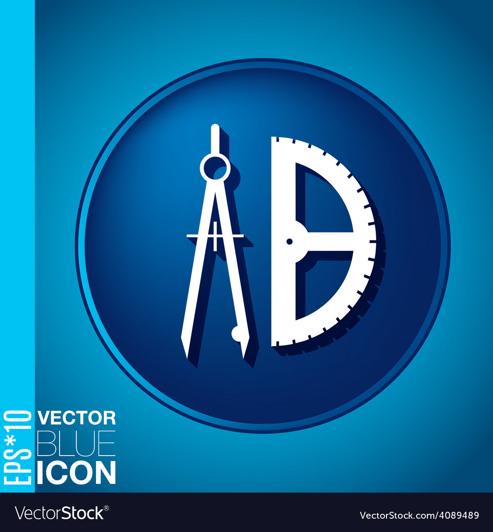 Compass and protractor education sign symbol icon vector | Price: 1 Credit (USD $1)