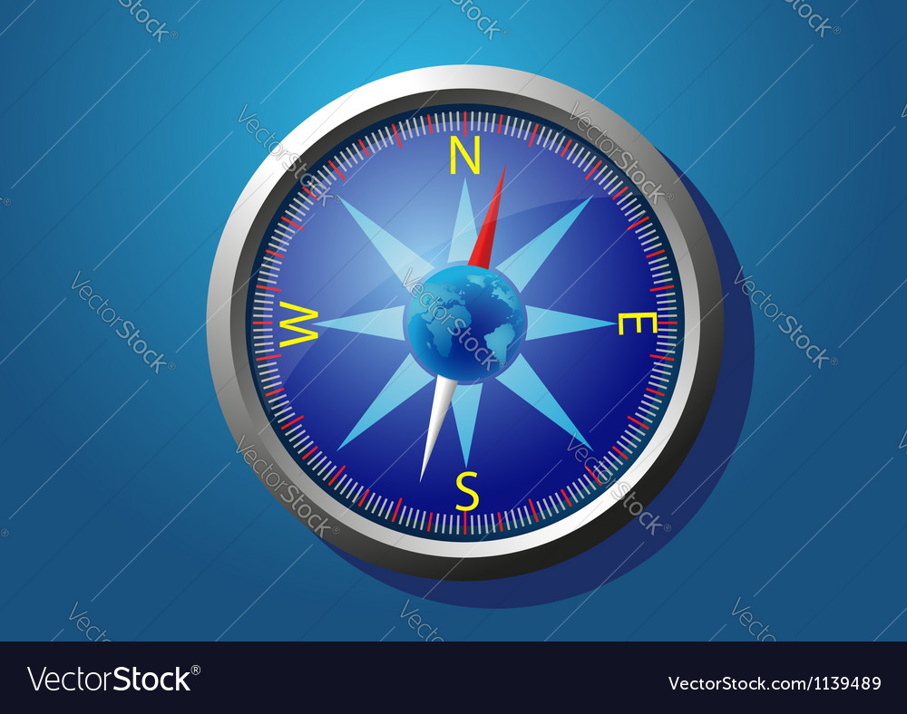 Compass on a blue background vector | Price: 1 Credit (USD $1)