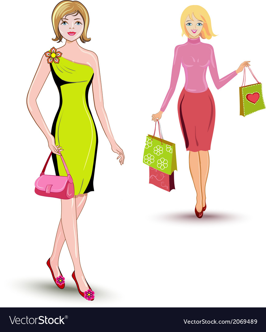 Girls shopping vector | Price: 1 Credit (USD $1)