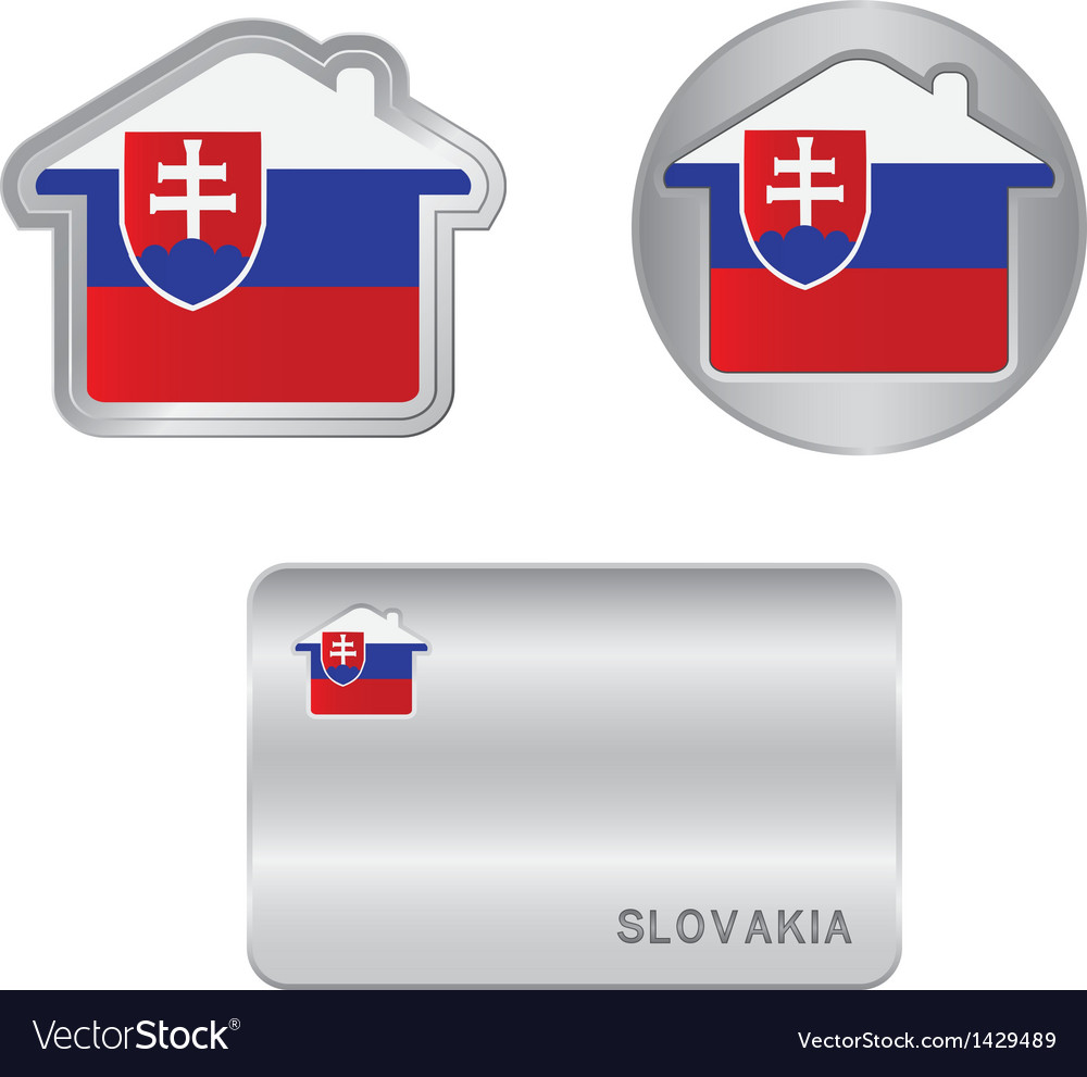 Home icon on the slovakia flag vector | Price: 1 Credit (USD $1)
