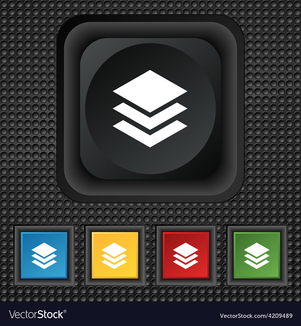 Layers icon sign symbol squared colourful buttons vector   Price: 1 Credit (USD $1)