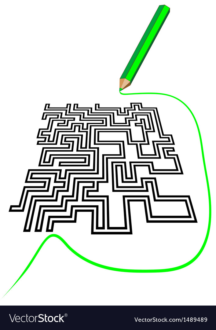 Maze and a pencil vector | Price: 1 Credit (USD $1)