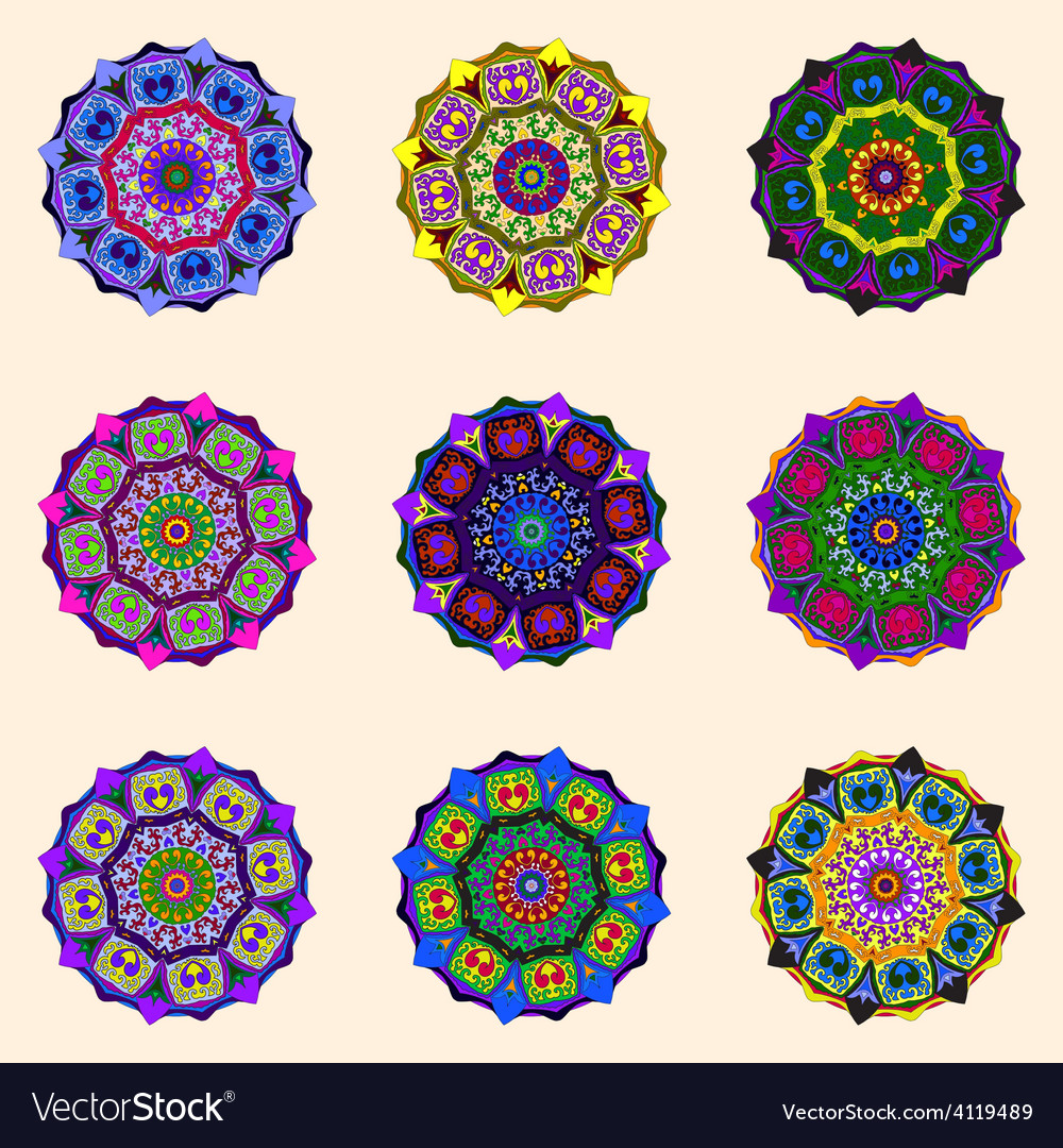 Round flower ornaments vector | Price: 1 Credit (USD $1)