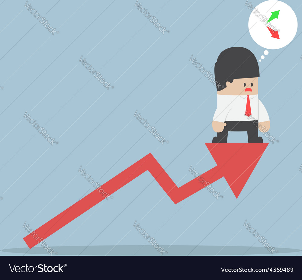 Up or down businessman confusing about stock mark vector | Price: 1 Credit (USD $1)