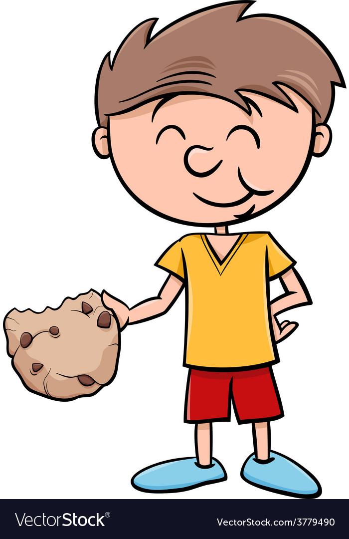 Boy with cookie cartoon vector | Price: 1 Credit (USD $1)