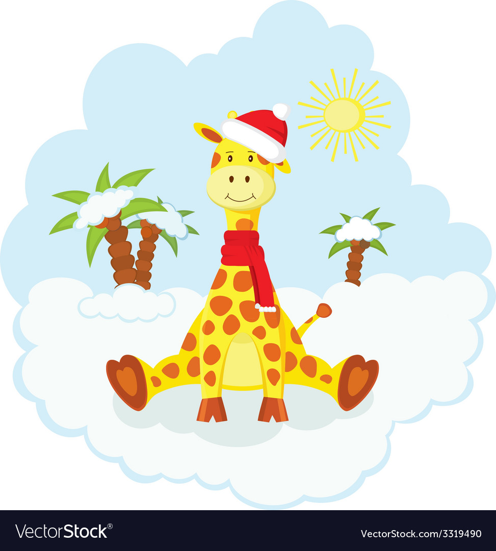 Christmas kid giraffe vector | Price: 1 Credit (USD $1)
