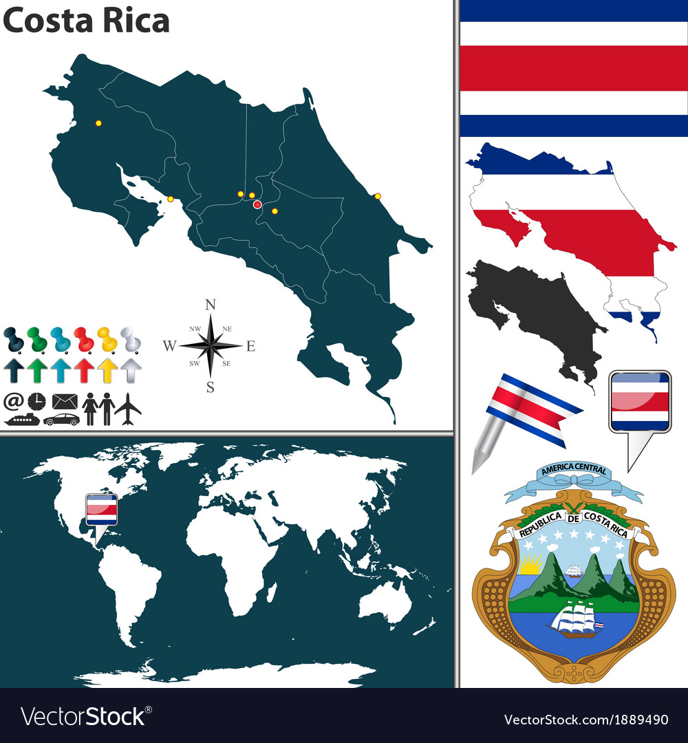 Costa rica map world vector | Price: 1 Credit (USD $1)