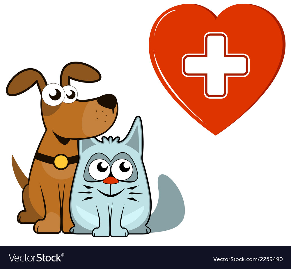Dog and cat with medical heart and cross vector | Price: 1 Credit (USD $1)