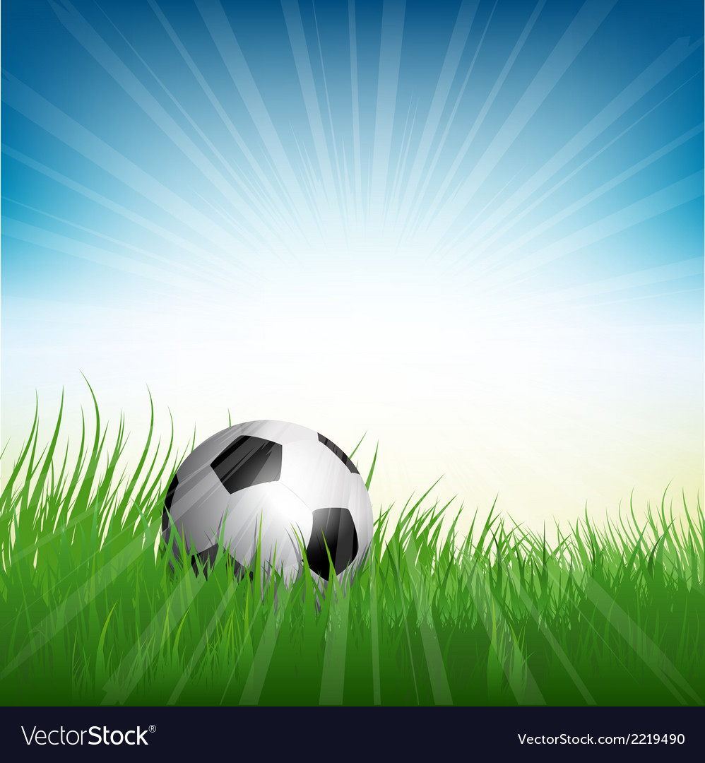Football soccer ball nestled in grass vector | Price: 1 Credit (USD $1)