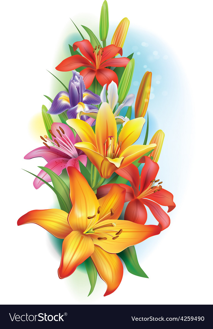 Garland of lilies and irises flowers vector | Price: 3 Credit (USD $3)