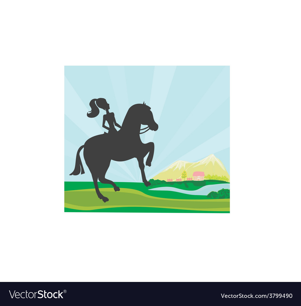 Girl jumping with horse vector | Price: 1 Credit (USD $1)
