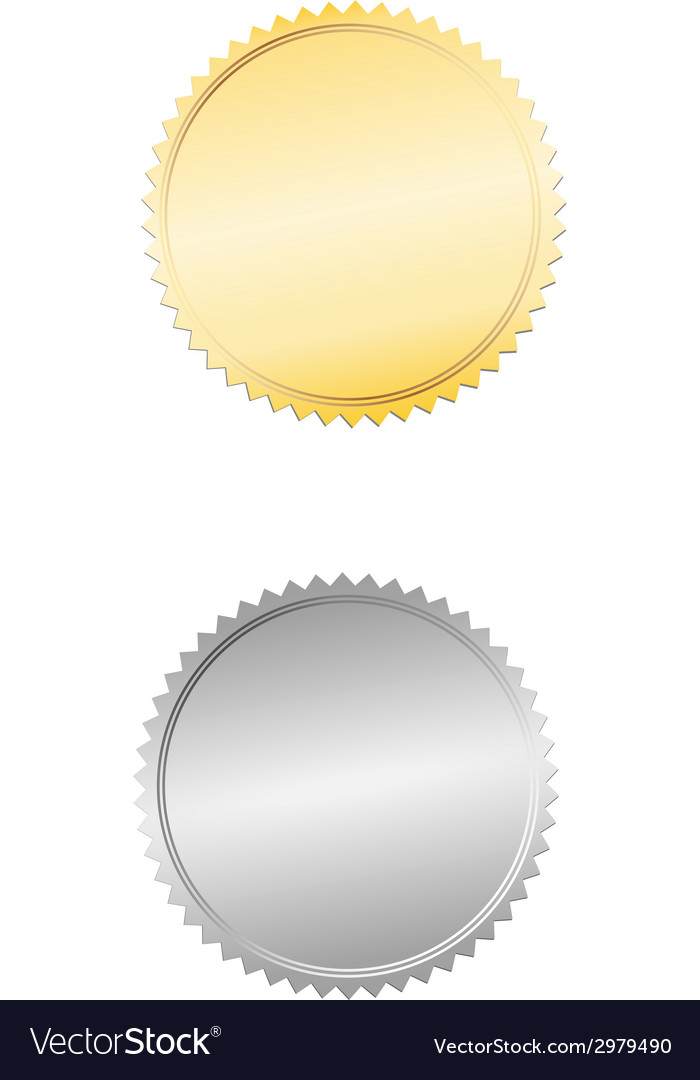 Gold and silver seal or badge vector | Price: 1 Credit (USD $1)